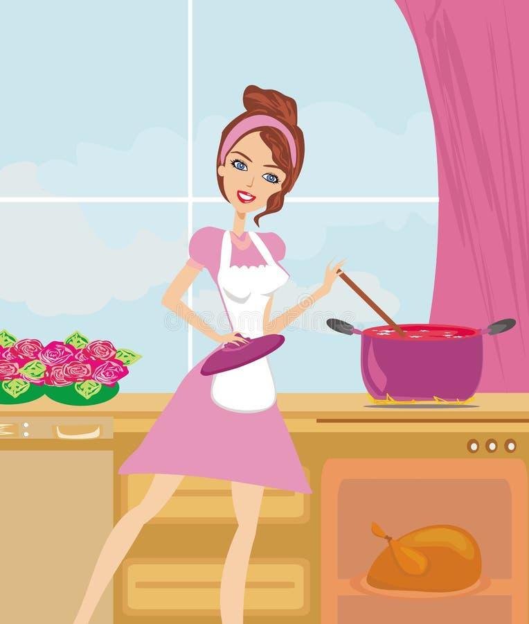 Download Damy Kulinarna Polewka I Porcja Kurczak Ilustracja Wektor - Ilustracja złożonej z housewife, wnętrze: 57666931