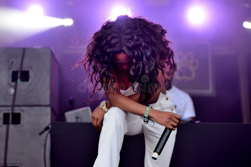 Damy Leshurr raper, piosenkarz i producent, wykonujemy w koncercie przy sonaru festiwalem obraz royalty free