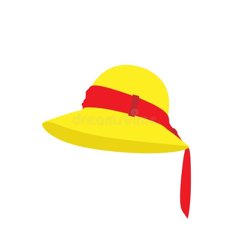Damy mody kapeluszowy projekt Eleganckich kobiet plażowy akcesorium odizolowywający Femal retro ubrań graficzna sztuka Nowożytny  ilustracji