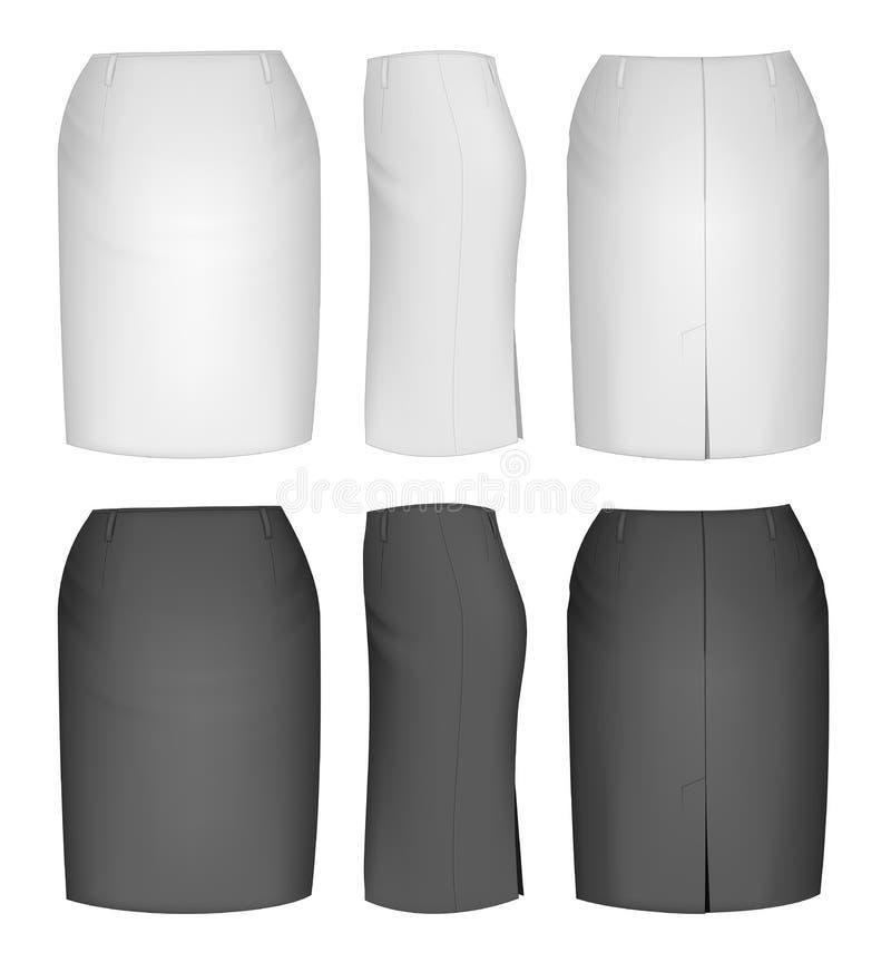 Damy spódnica dla biznesowych kobiet ilustracja wektor
