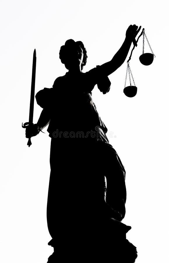 Damy sprawiedliwości statua z wysokim kontrastem w Frankfurt główny miasto, Niemcy - Am - obraz royalty free