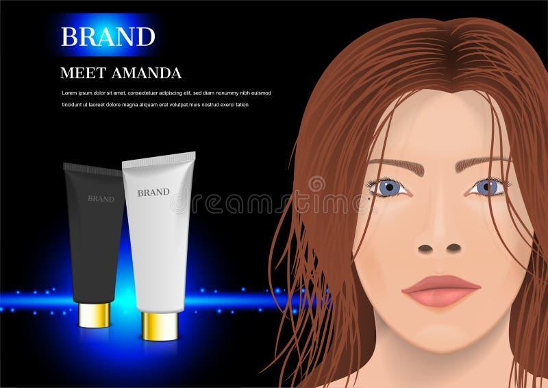Damy twarz z czarny i biały śmietanką, kosmetyczna reklama zdjęcie stock