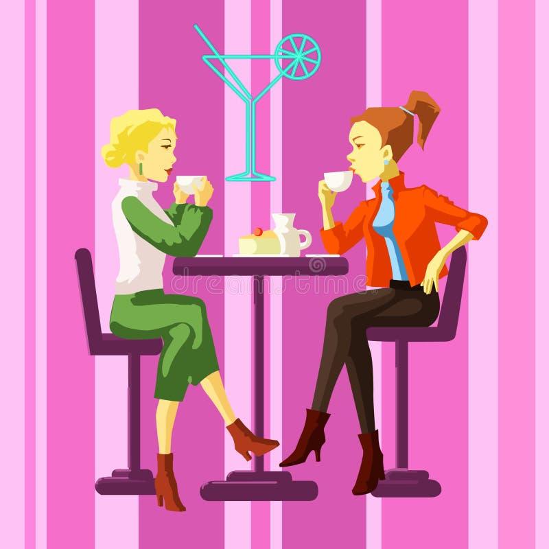 Damy w kawiarni royalty ilustracja