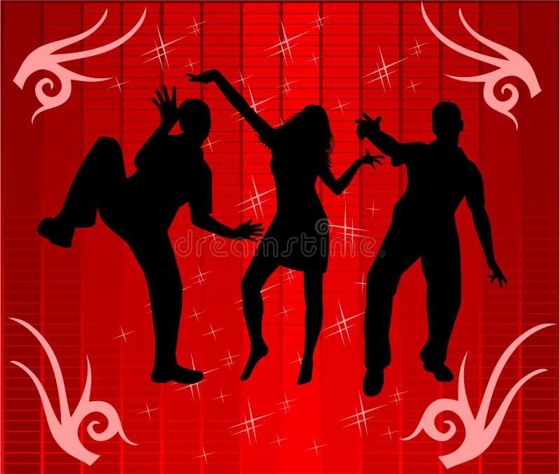 Dança à luz do disco ilustração do vetor