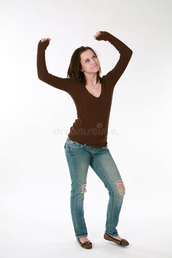 Dança adolescente do modelo da menina foto de stock