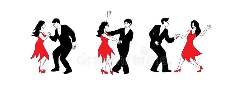 A dança ajustou - a ilustração dos dançarinos em preto e em vermelho ilustração do vetor