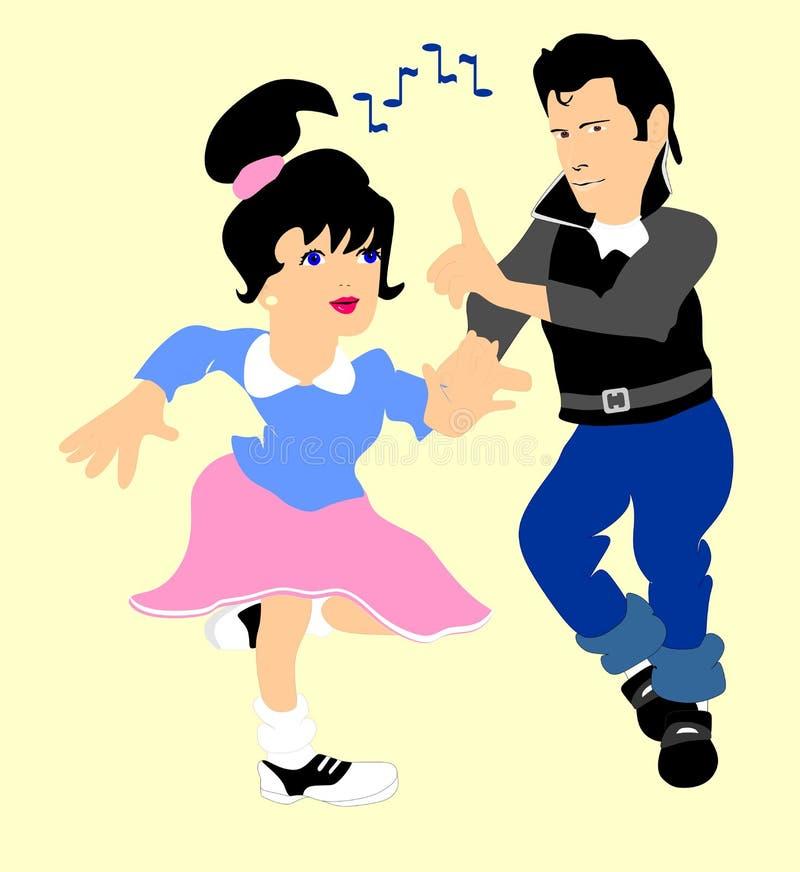 Dança ao rolo do n da rocha dos anos 50. ilustração royalty free