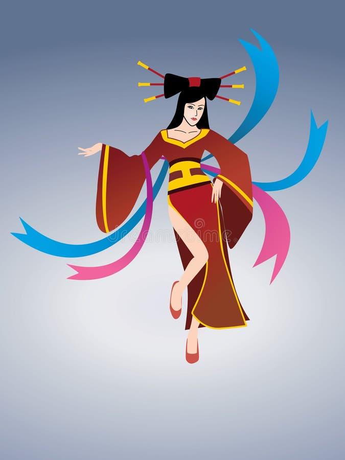 Dança asiática da beleza ilustração stock
