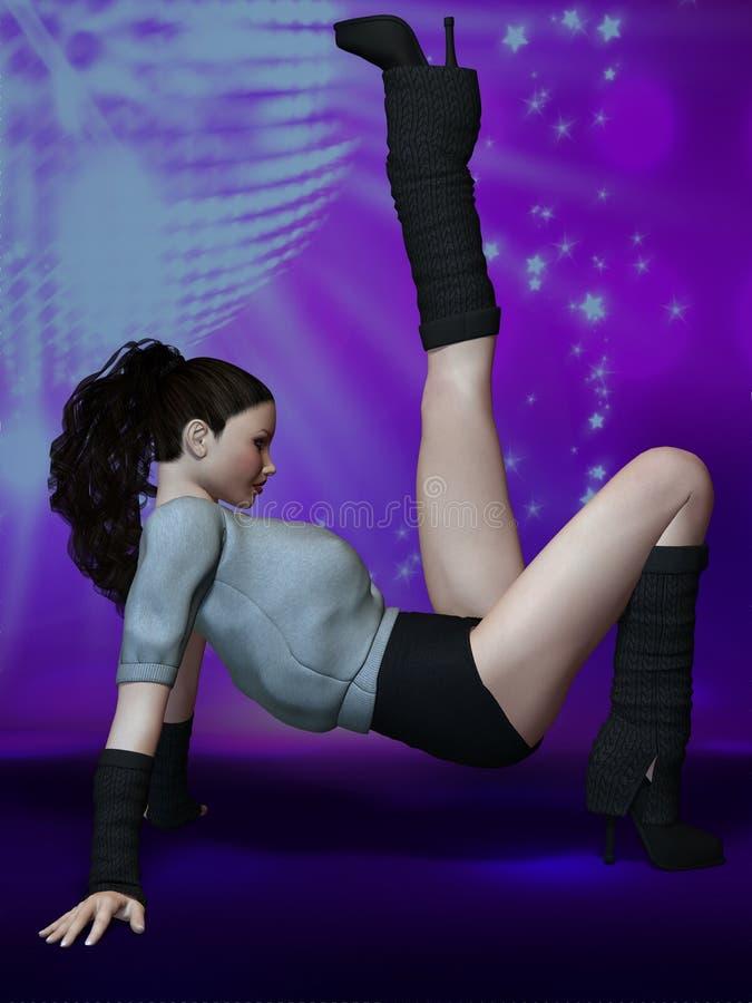 Dança bonita da jovem mulher na fase ilustração do vetor