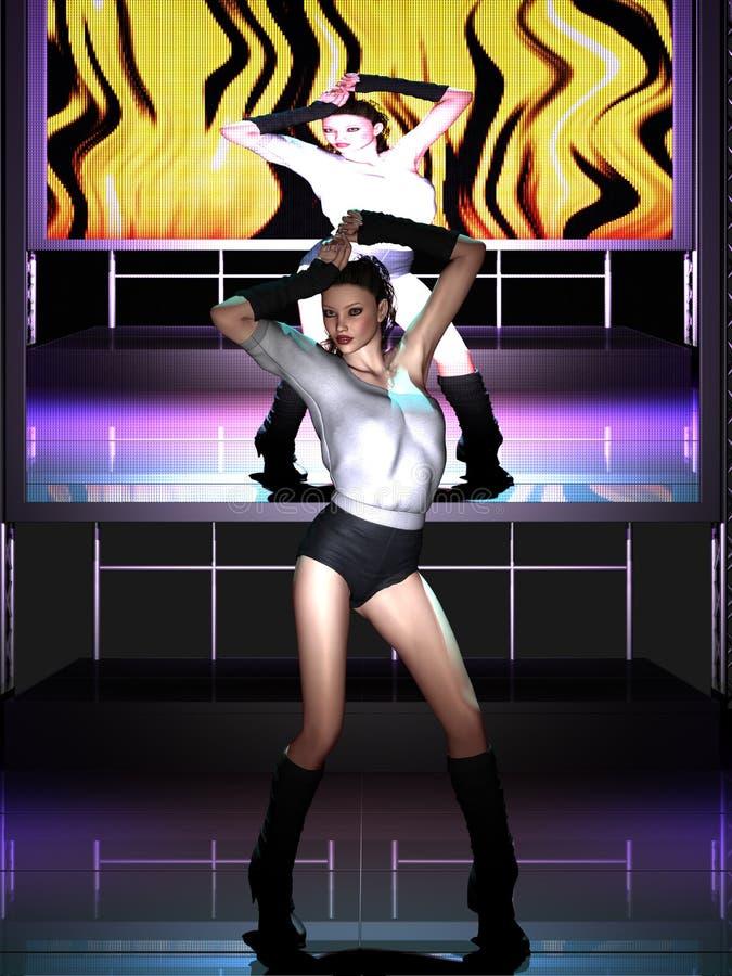Dança bonita da jovem mulher na fase ilustração stock
