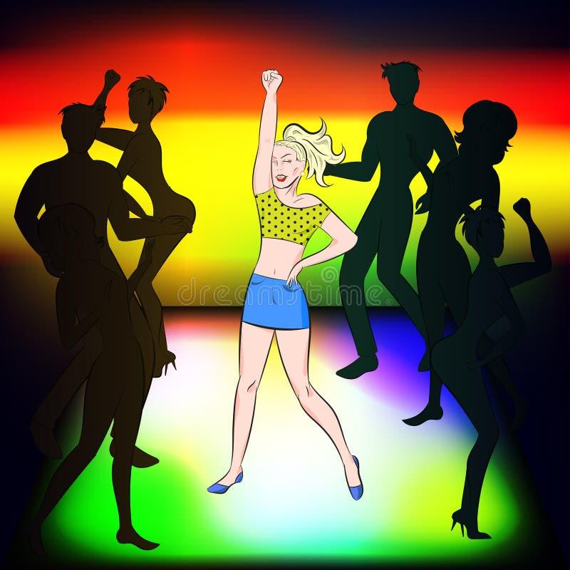 Dança bonita da menina no disco ilustração do vetor