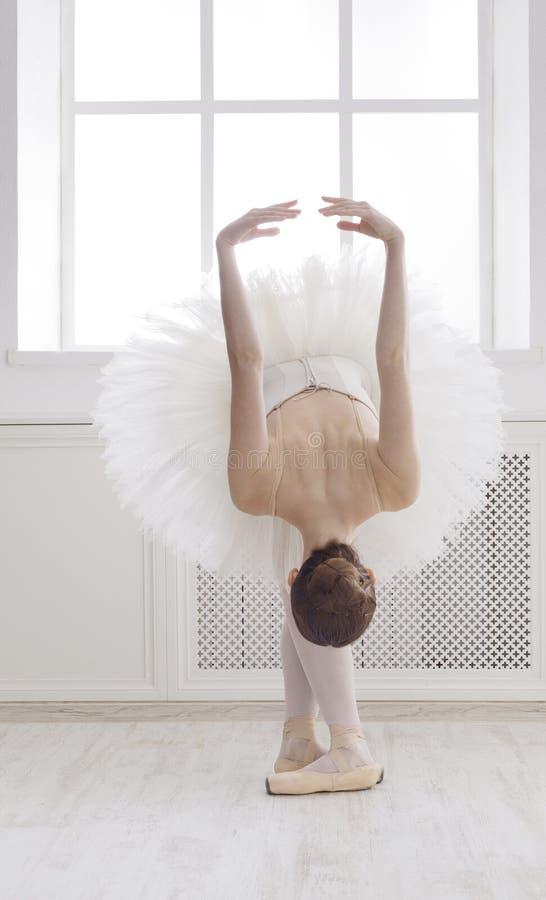Dança bonita do ballerine na posição de bailado, reverência imagem de stock