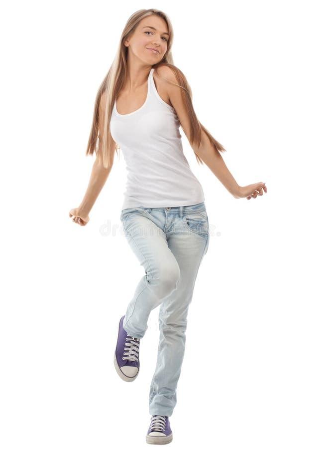 Dança bonita feliz da menina fotos de stock