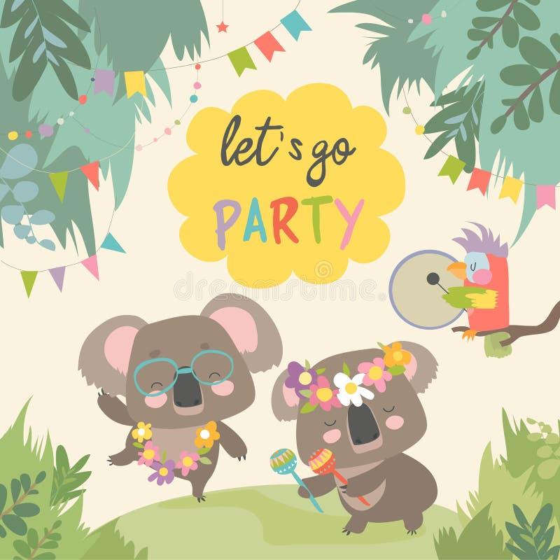 Dança bonito da coala com o amigo no gramado ilustração royalty free
