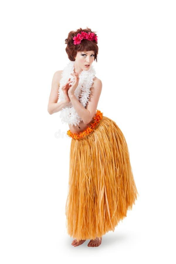 Dança caucasiano nova do dançarino do hula fotos de stock royalty free