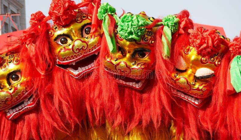 Dança chinesa do leão fotografia de stock royalty free