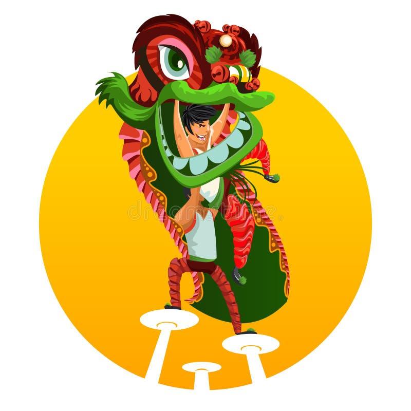 Dança chinesa do leão do ano novo ilustração do vetor