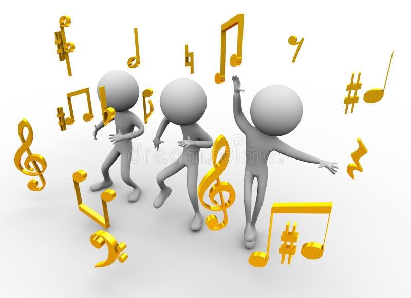 Dança com notas da música ilustração do vetor
