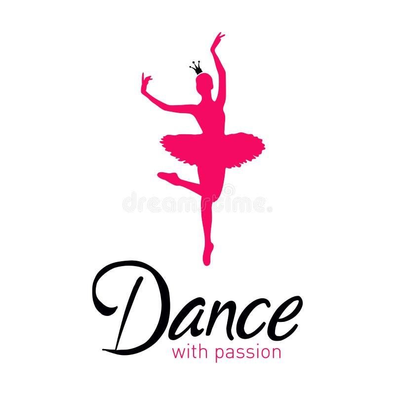 Dança com o cartão da paixão com bailarina ilustração stock