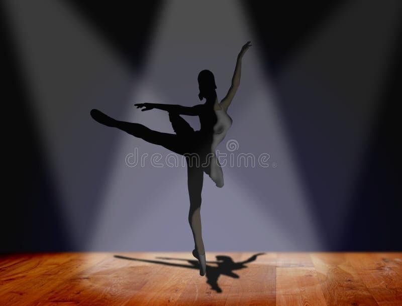 Dança da bailarina no estágio ilustração do vetor