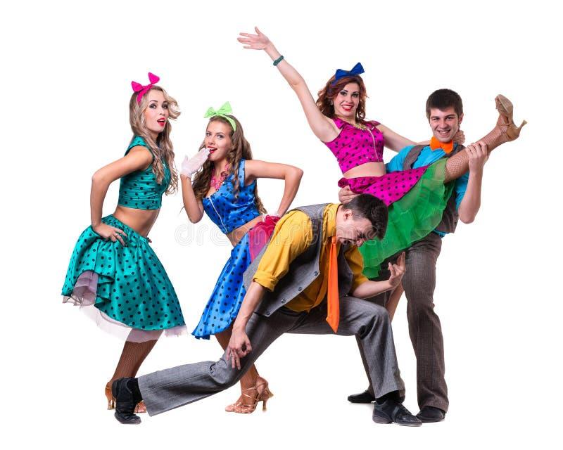 Dança da equipe do dançarino da taberna Isolado no fundo branco do comprimento completo imagem de stock