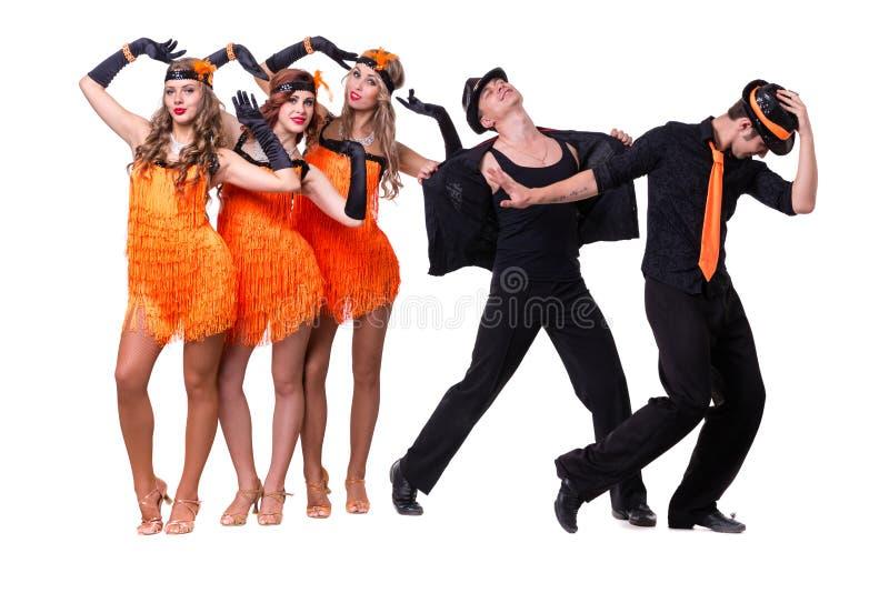 Dança da equipe do dançarino da taberna Isolado no fundo branco do comprimento completo imagens de stock