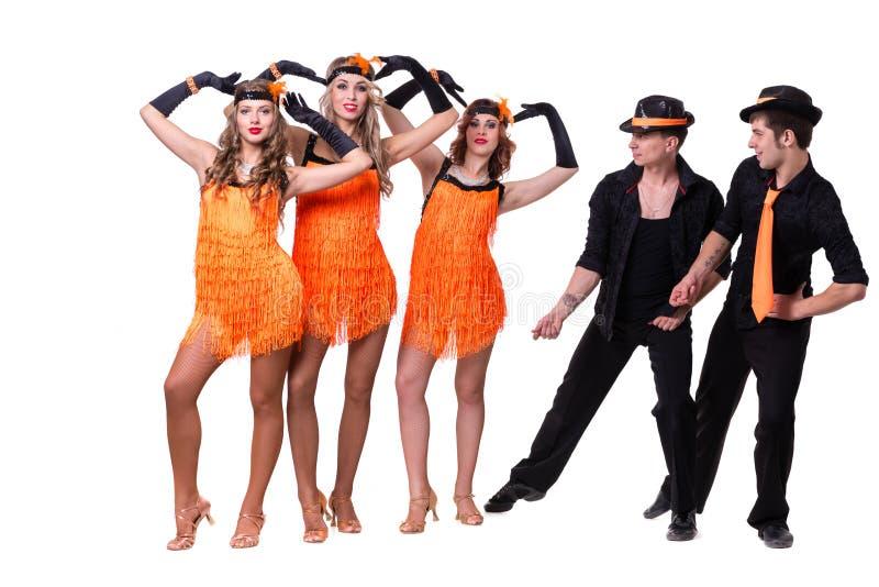 Dança da equipe do dançarino da taberna Isolado no fundo branco do comprimento completo imagem de stock royalty free