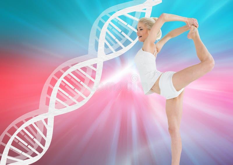 dança da mulher com a corrente do ADN e fundo brancos das cores ilustração royalty free