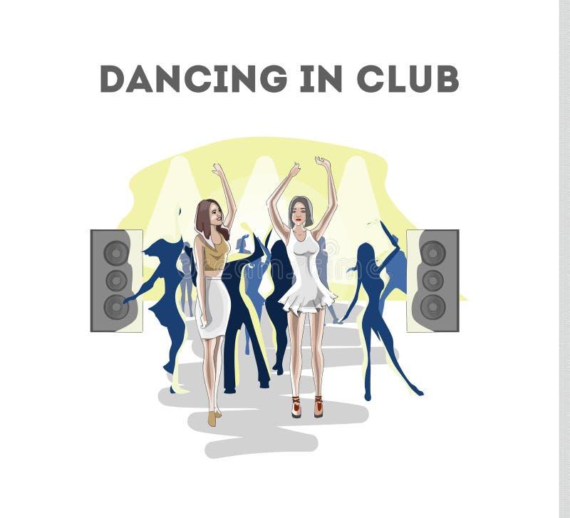 Dança da mulher no clube noturno com seu amigo ilustração do vetor
