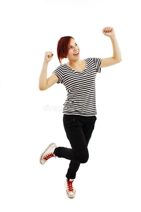 Dança da mulher nova do sucesso e comemoração fotos de stock royalty free