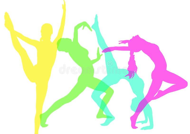 Dança da mulher silhuetas intensas da cor com opacidade ilustração stock