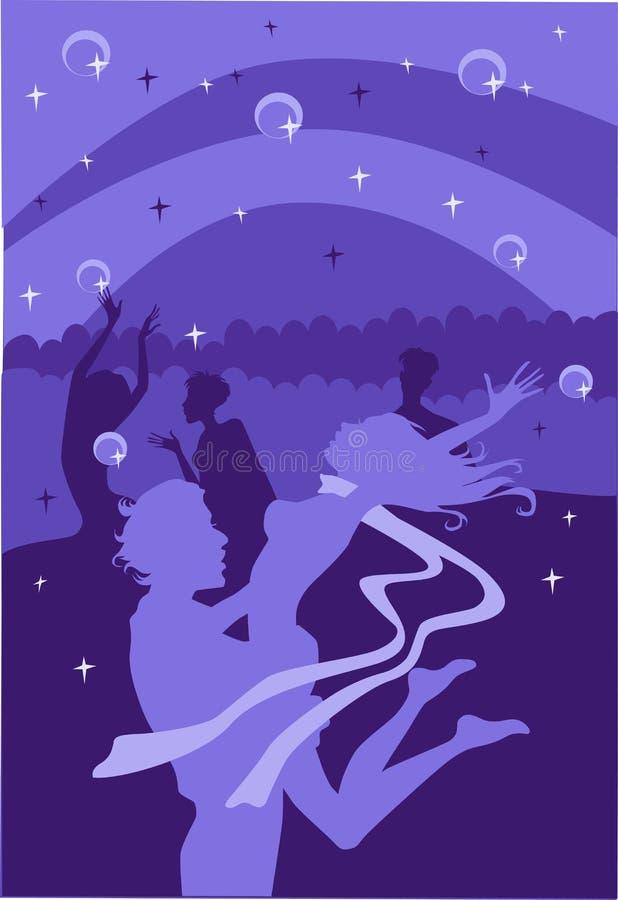 Dança da noite ilustração do vetor