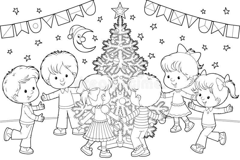 Dança das crianças em torno da árvore de Natal ilustração royalty free