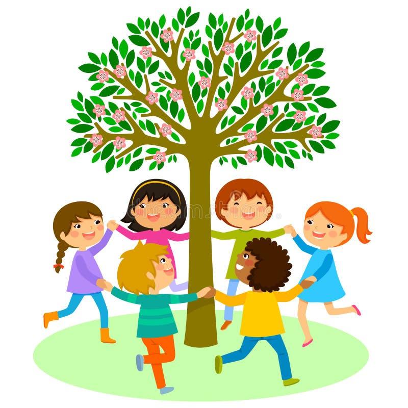 Dança das crianças em torno de uma árvore ilustração royalty free