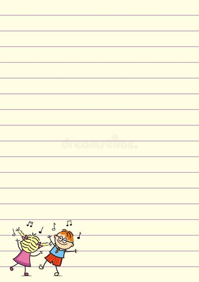 Dança das crianças em uma folha de papel Ilustração engraçada do vetor Nota da música ilustração royalty free