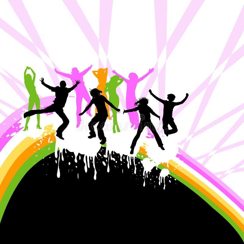 Dança das silhuetas ilustração do vetor