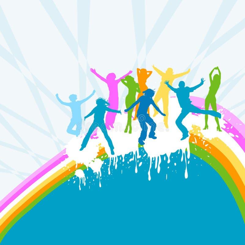 Dança das silhuetas ilustração royalty free