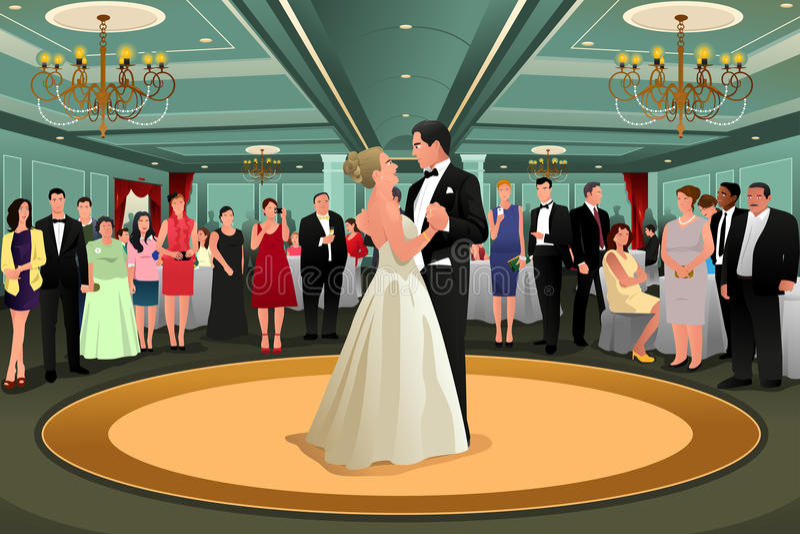 Dança de Dancing Their First do noivo da noiva ilustração royalty free