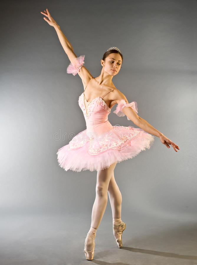 Dança de dedo do pé da bailarina isolada fotos de stock