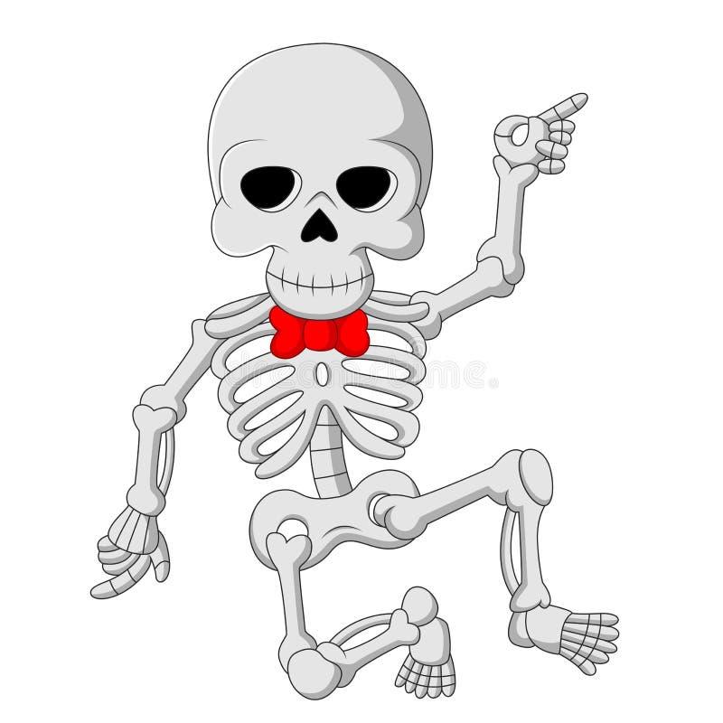 Dança de esqueleto engraçada dos desenhos animados ilustração do vetor