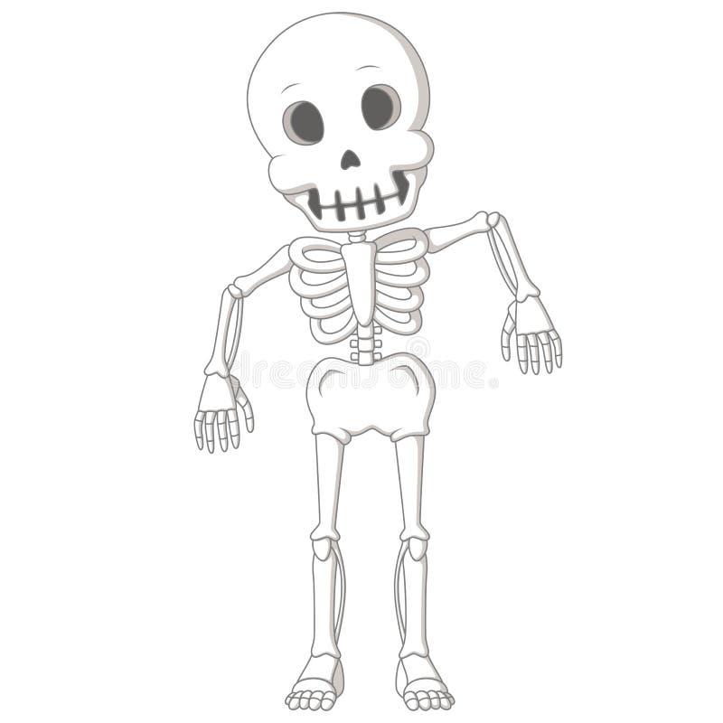 Dança de esqueleto humana engraçada dos desenhos animados ilustração stock