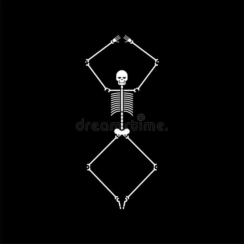 Dança de esqueleto isolada Danças do crânio e do osso Illustrat do vetor ilustração do vetor