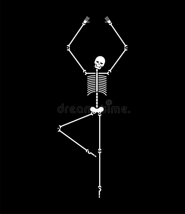 Dança de esqueleto isolada Danças do crânio e do osso Illustrat do vetor ilustração stock