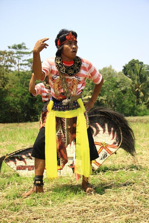 Dança de Jathilan fotografia de stock