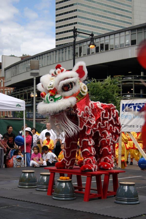 Dança de leão no bairro chinês, Boston durante a celebração chinesa do ano novo foto de stock