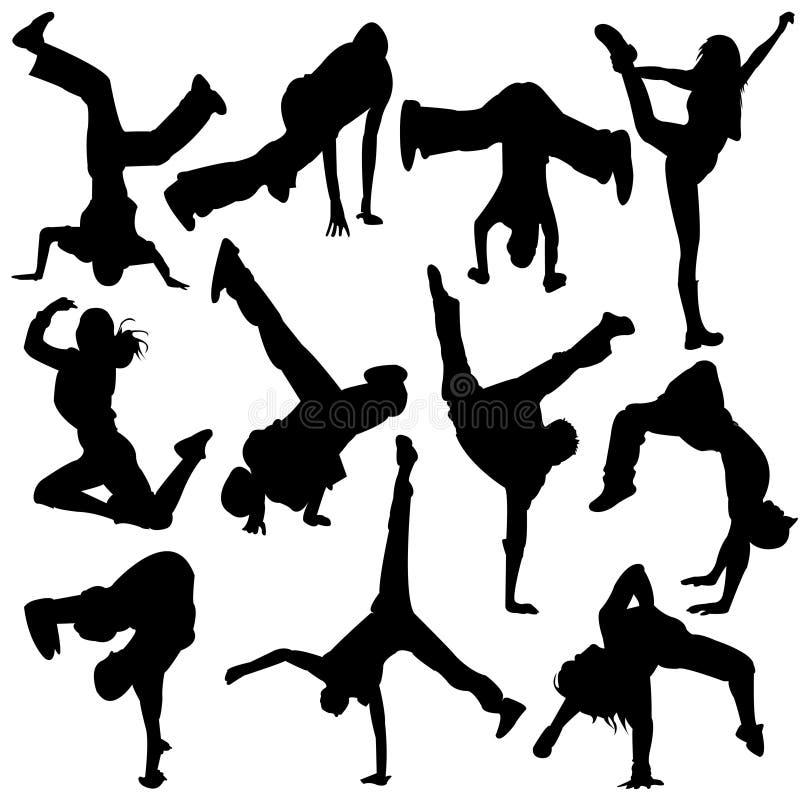 Dança de ruptura de salto dos povos da silhueta, dança ilustração stock