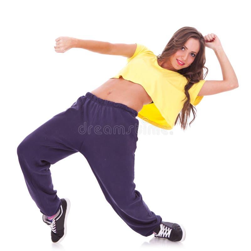 Dança de ruptura do dançarino da mulher foto de stock royalty free