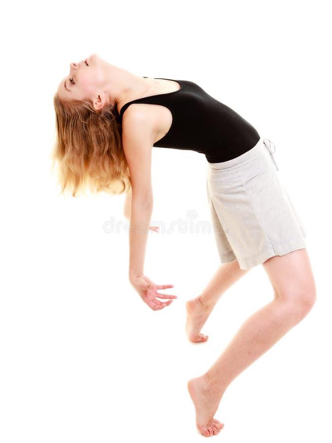 Dança de ruptura moderna do dançarino da mulher do estilo isolada fotos de stock