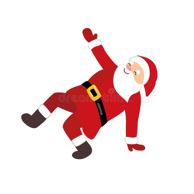 Dança de Santa Claus dos desenhos animados, caráter cômico engraçado fotografia de stock royalty free