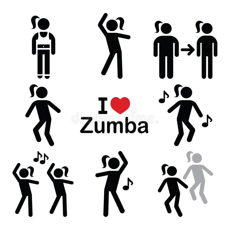 Dança de Zumba, ícones da aptidão do exercício ajustados ilustração do vetor